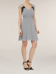 Silk lace and ruched dress