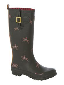 Olive horse printed welly