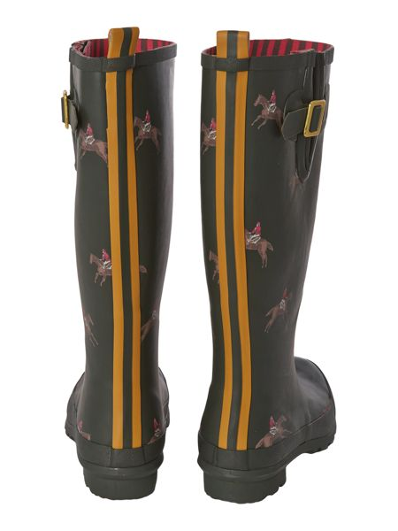 Joules Olive horse printed welly
