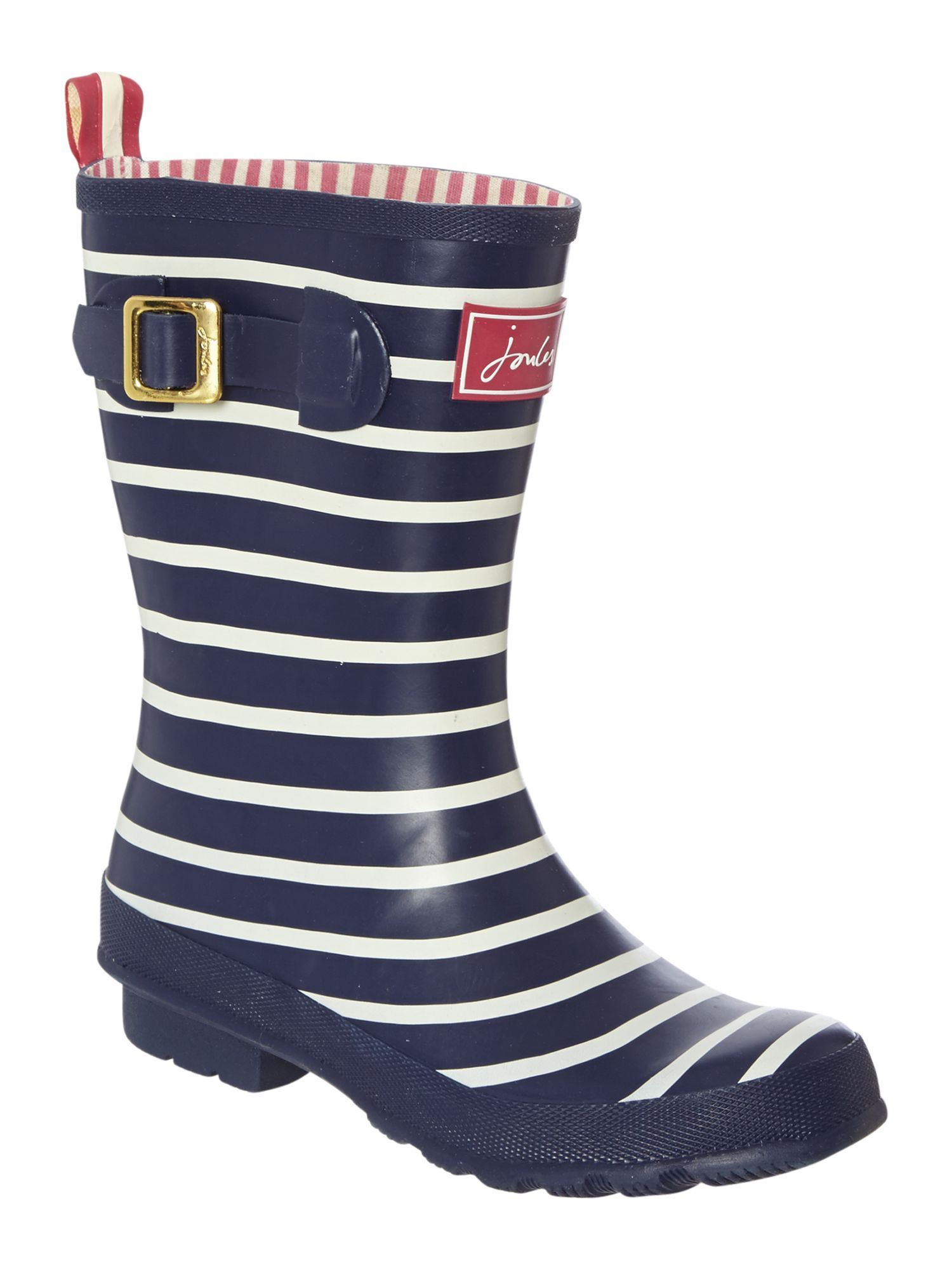 Navy stripe printed molly short welly