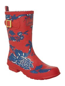 Red peony printed molly short welly