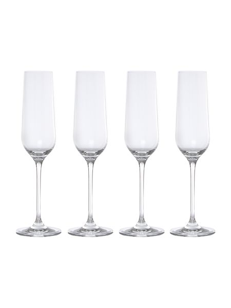 Linea Emily set of 4 crystal champagne flutes