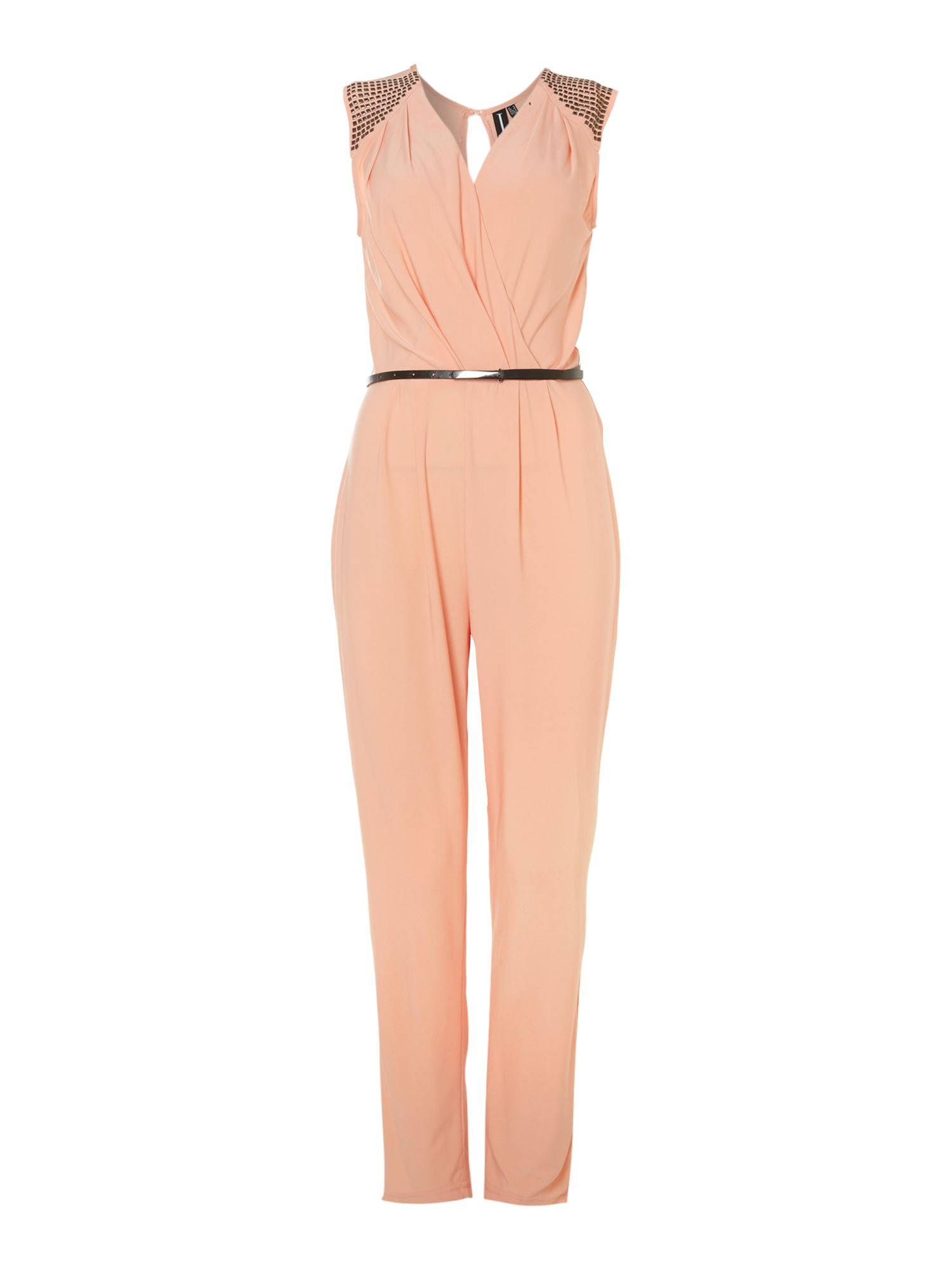 Studded shoulder wrap jumpsuit