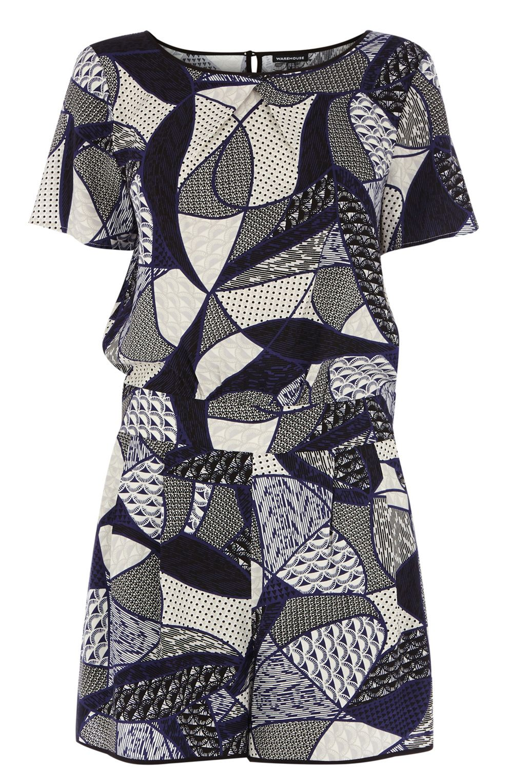 Mixed print playsuit