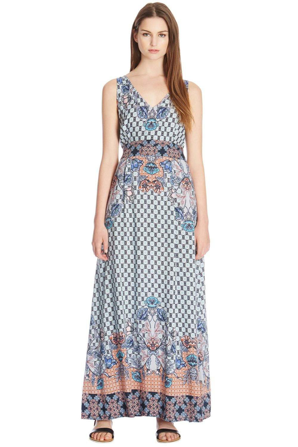 Border floral maxi dress