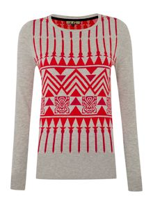 Novelty intarsia knit jumper