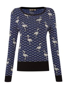 Flamingo patterned jumper