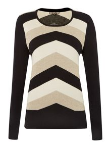 Metallic chevron knit jumper