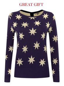 Star metallic button back jumper