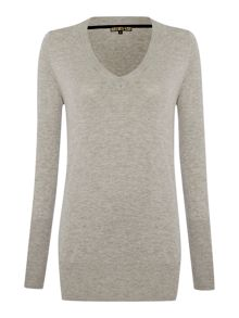 V neck metallic jumper