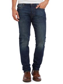 Tapered rinse wash jeans