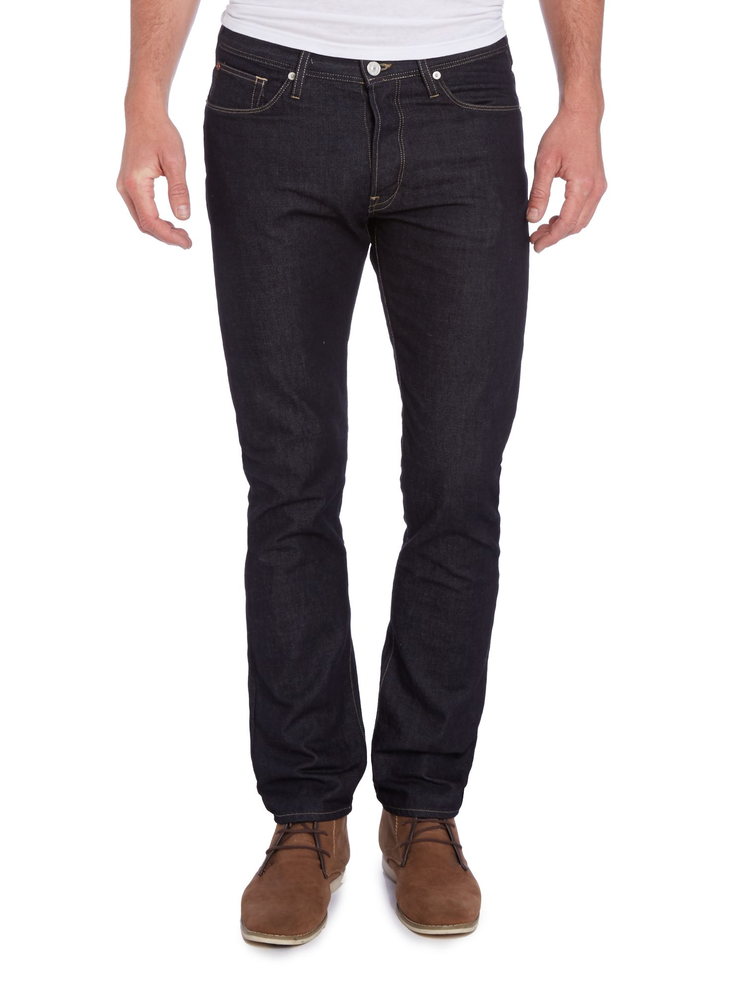 Tapered dark rinse wash jeans