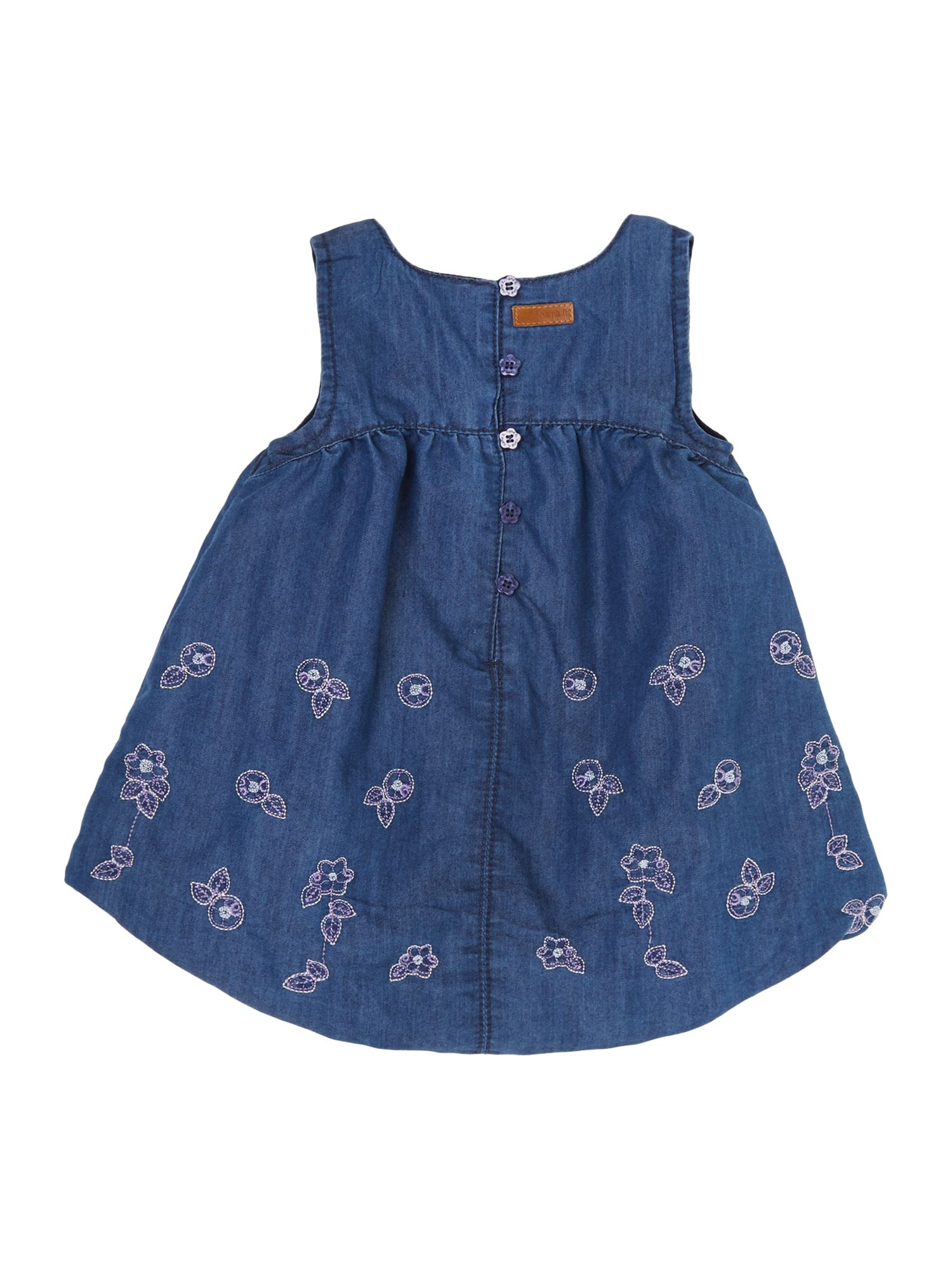 Girls denim puff dress with embroidery
