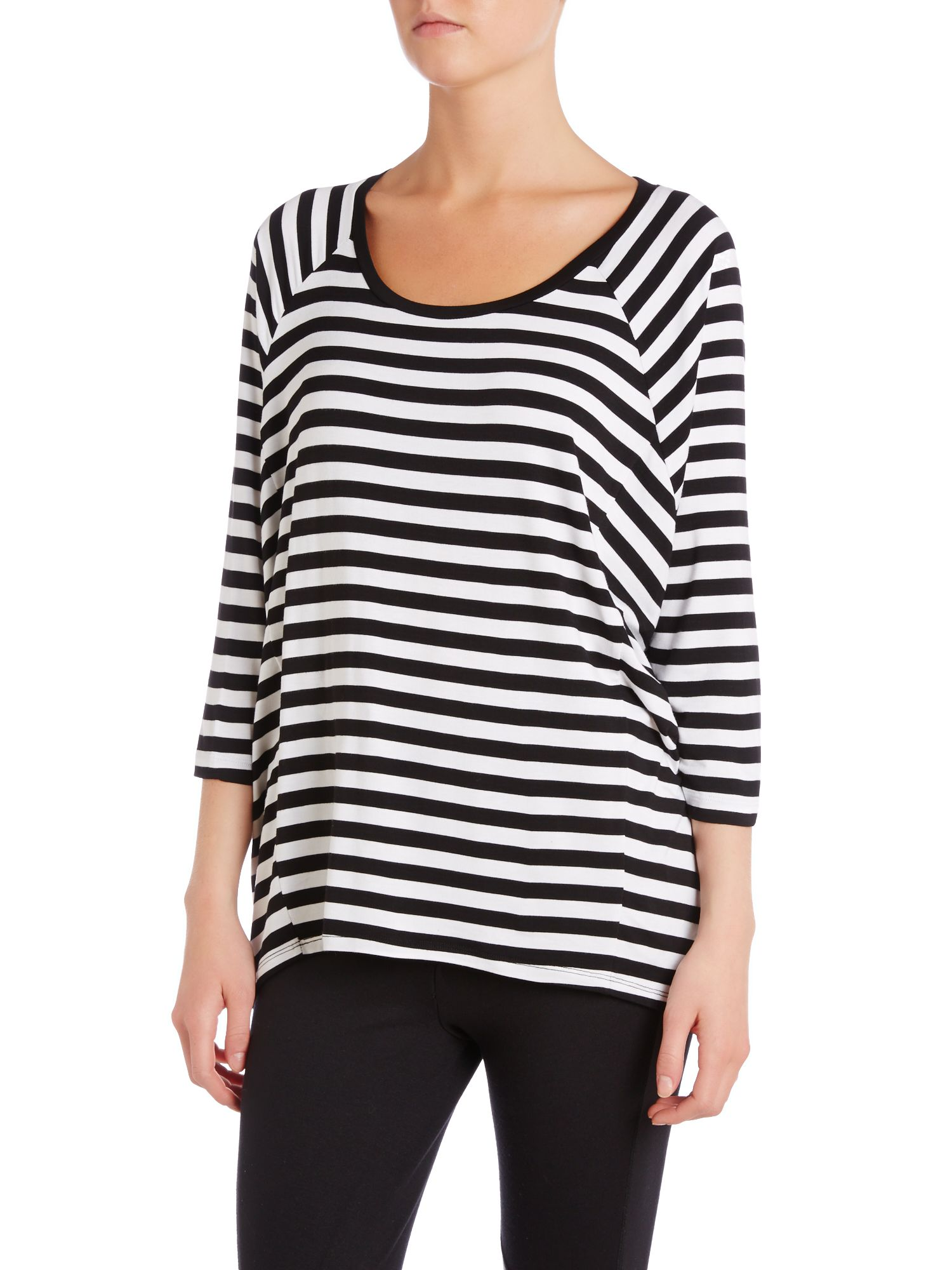 3/4 sleeved striped top with elip hem
