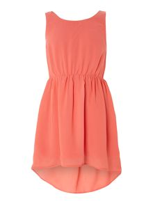 Girls dip hem vest dress