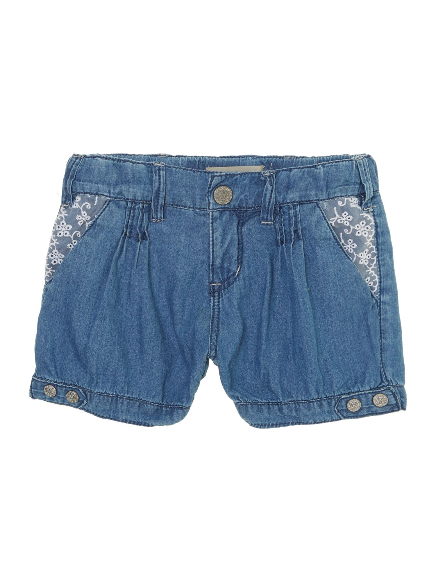 Girls lace pocket denim shorts