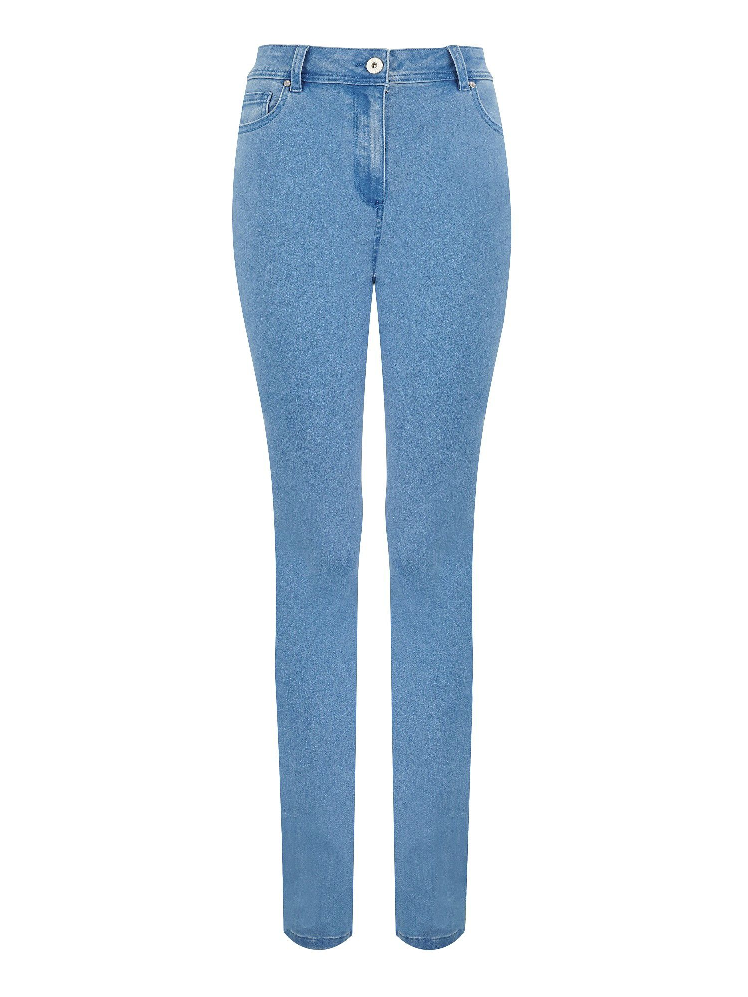 Light wash straight leg jean petite