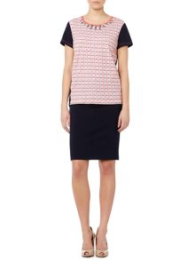 Naxos check print t-shirt with jewelled collar