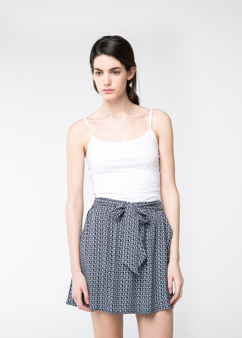 Bow printed skirt