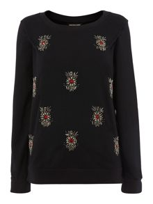 Jewelled front sweat