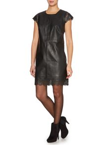 Cap sleeve leather dress