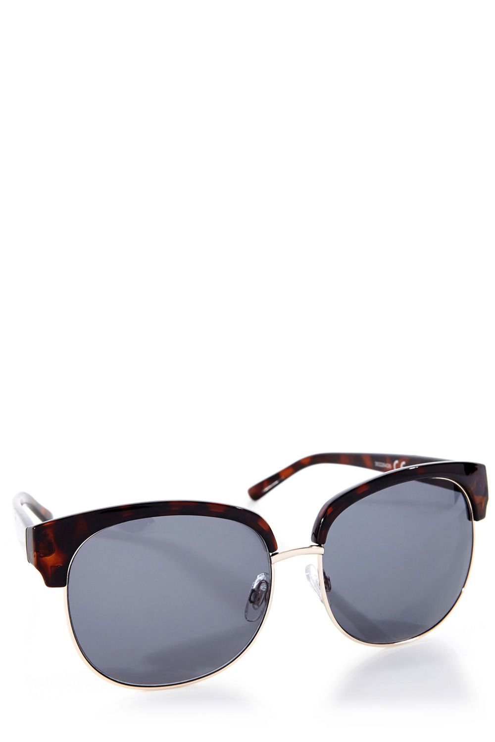 Oversized half metal sunglasses