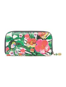 Havana multi tropical large zip around purse