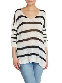 Stripped netted jumper