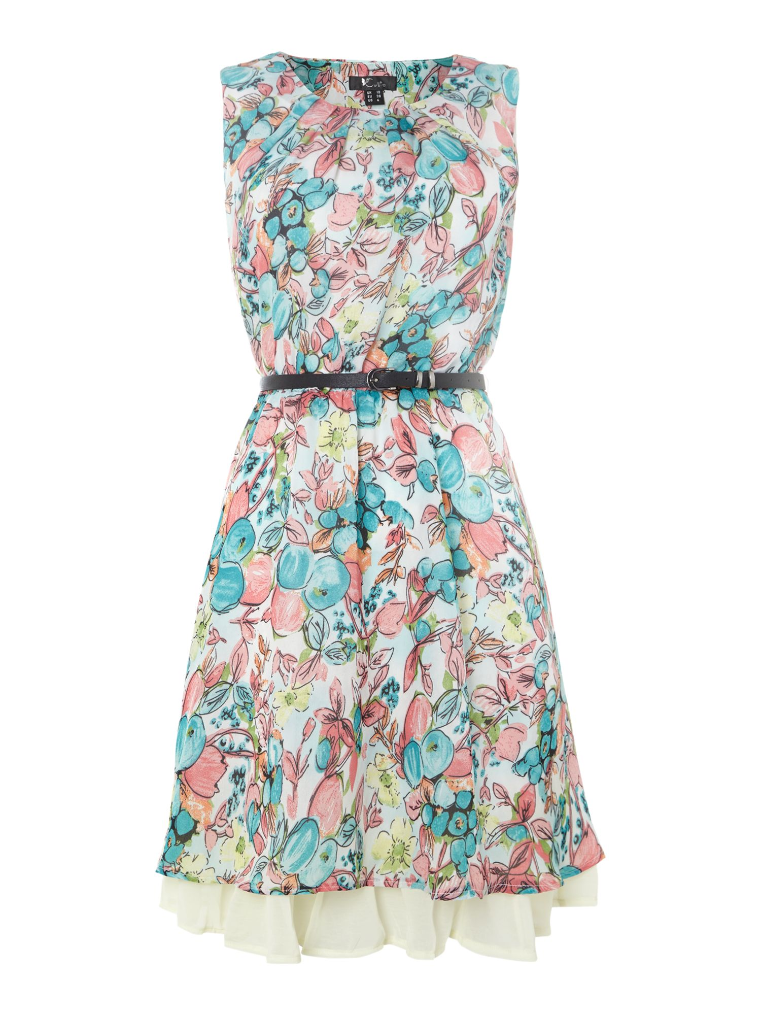 Painted flower print dress