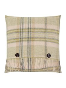 Woven check cushion, apple