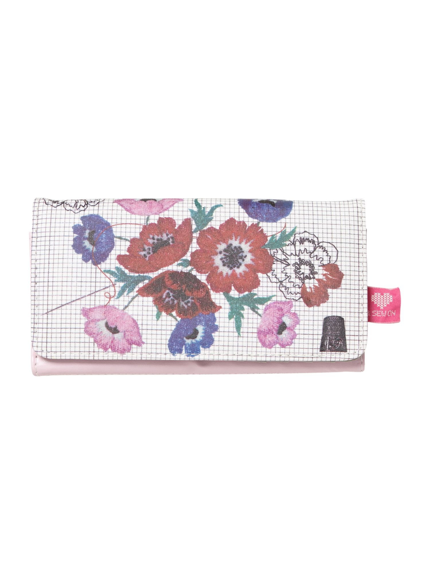 & Sew on multi-coloured floral flap over purse