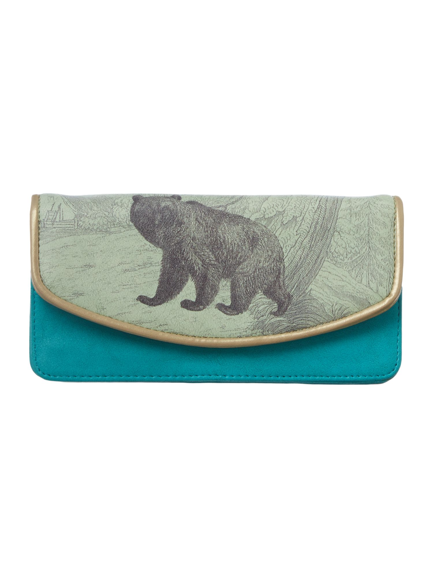 Heritage green bear flap over purse