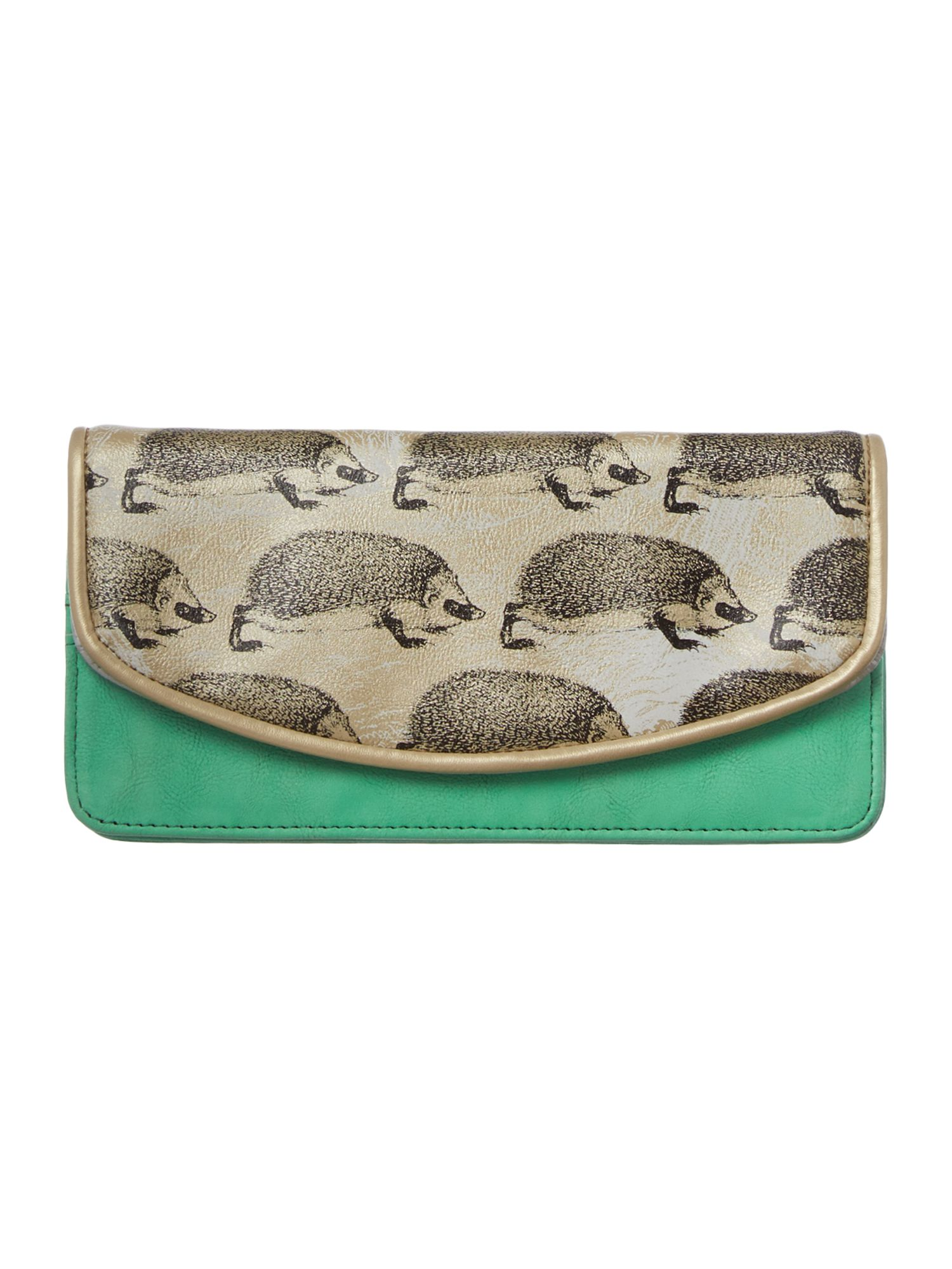 Heritage green hedgehog flap over purse
