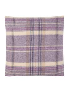 Woven purple check cushion