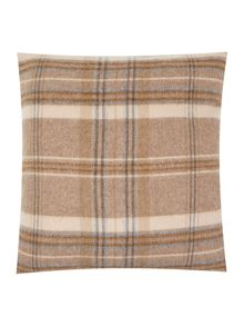 Woven check cushion, natural