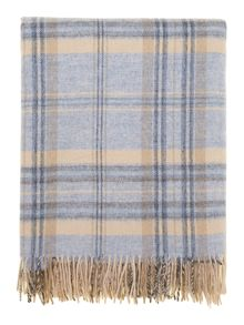 Woven check throw, blue