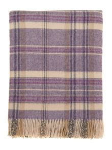 Woven check throw, purple