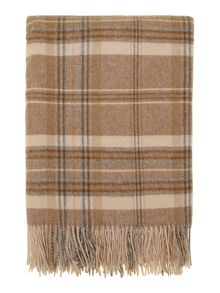 Woven check throw, natural