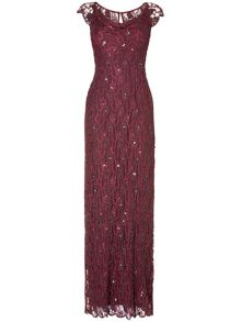 Manuela lace beaded full length dress
