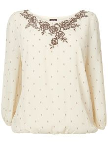 Ness embroidered spot blouse