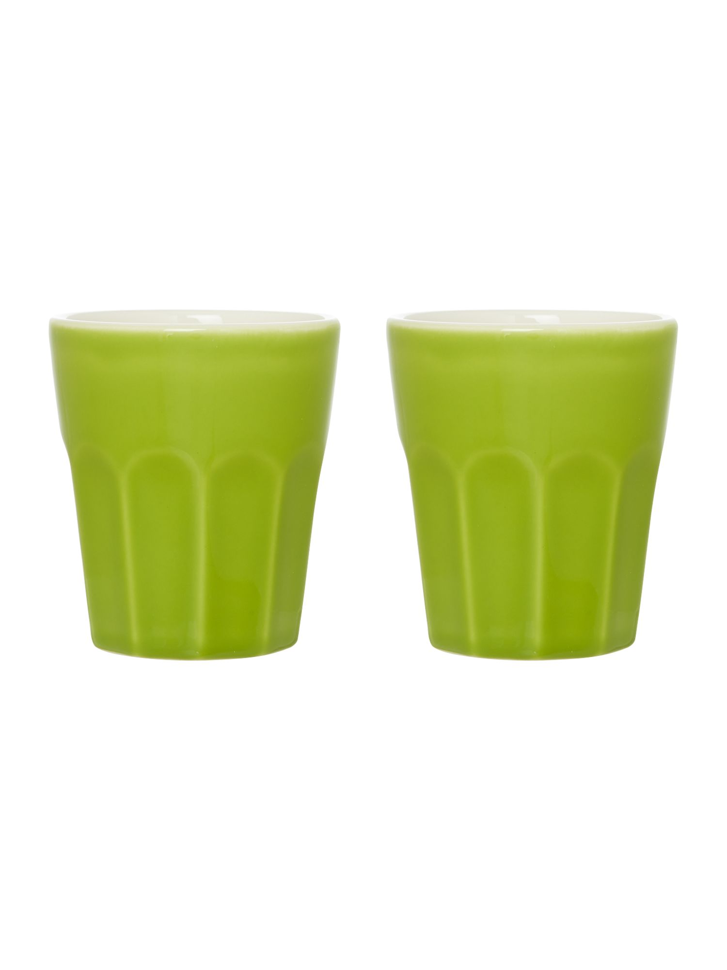Green ceramic set of two cappucino mugs