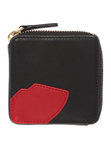 Lulu Guinness Abstract lips black coin purse