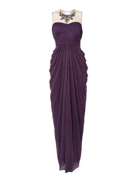 Adrianna Papell Illusion mesh jewel neck gown