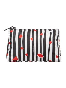 Multi-coloured stripe large cosmetic bag