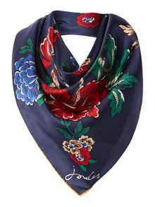 Navy floral clarence silk square scarf