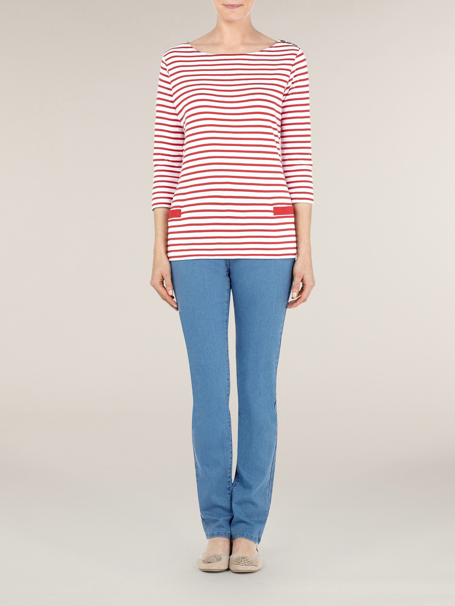 Shoulder patch stripe top