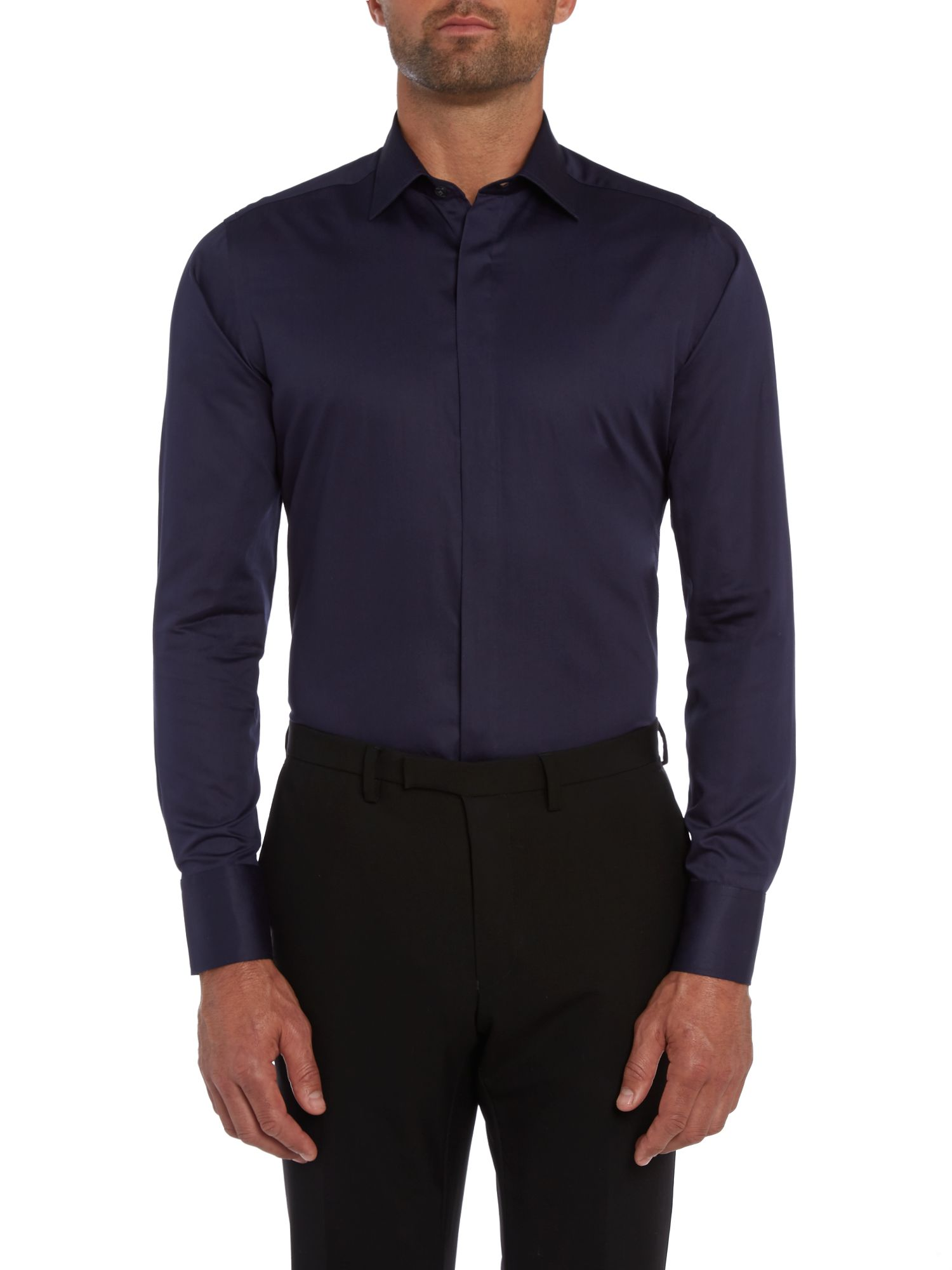 Satin solid contrast internal slim shirt