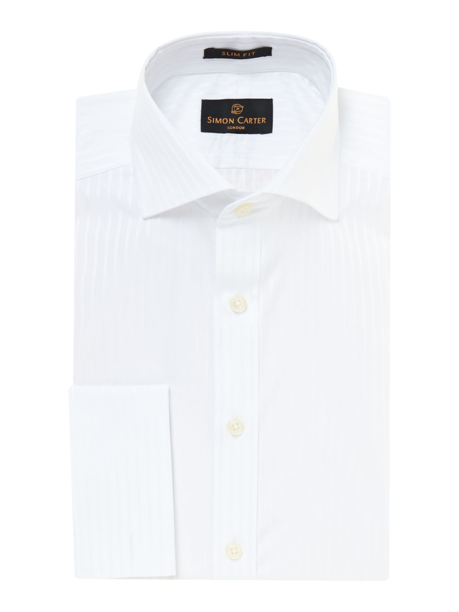 Stripe in satin slim fit double cuff shirt