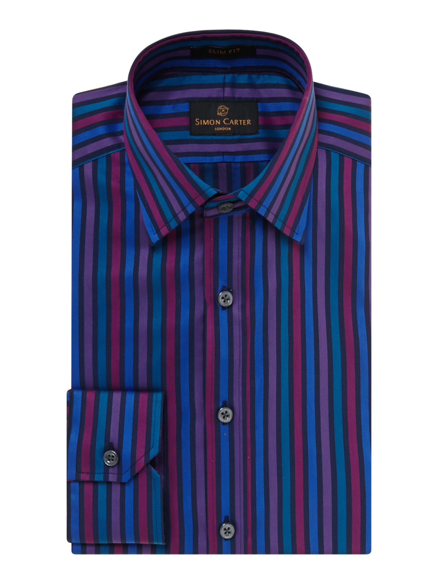 Bold satin stripe slim fit shirt
