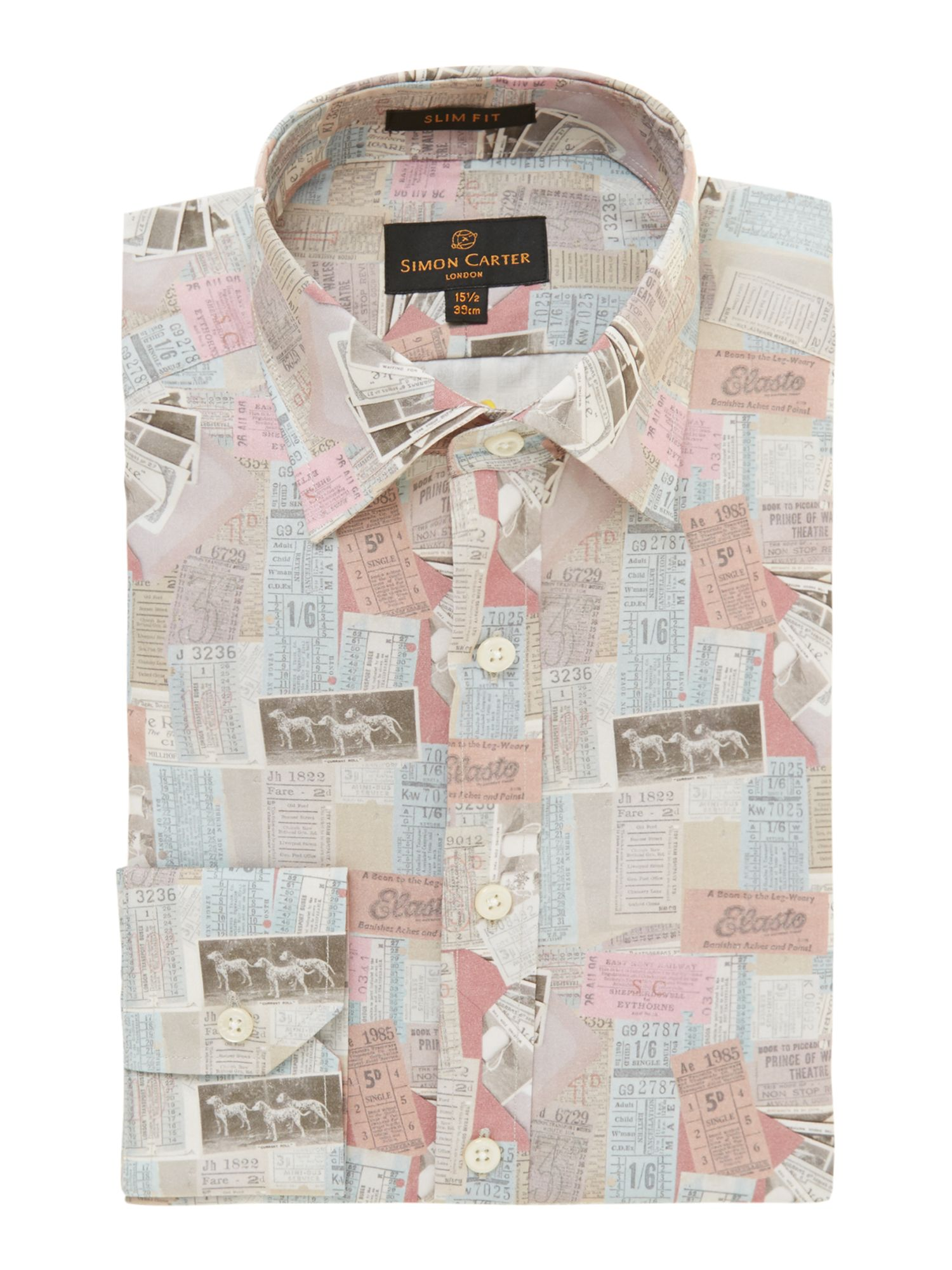 Ticket print slim fit shirt